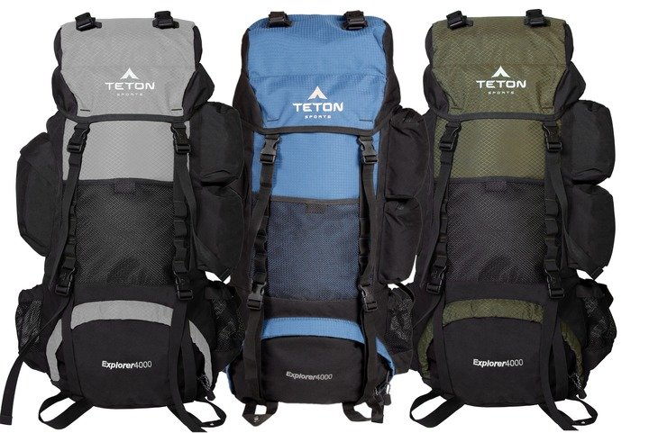 Teton Sports Explorer 4000 three color variations backpack hero
