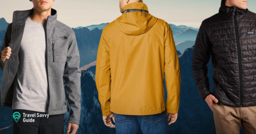 Men in jackets on mountain background