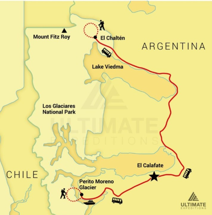 Los Glaciares Expedition route