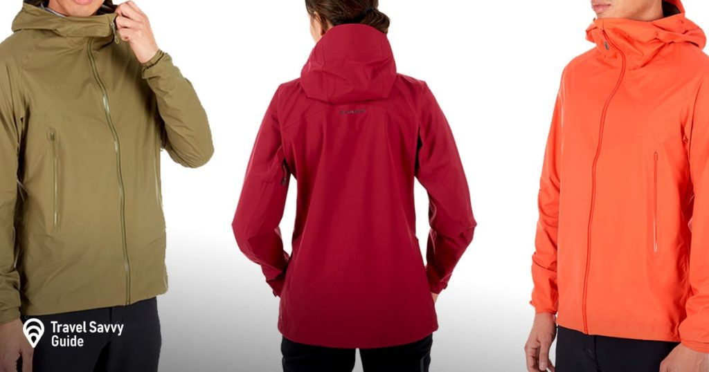a man and 2 women wearing Mammut Masao Light hooded rain jacket