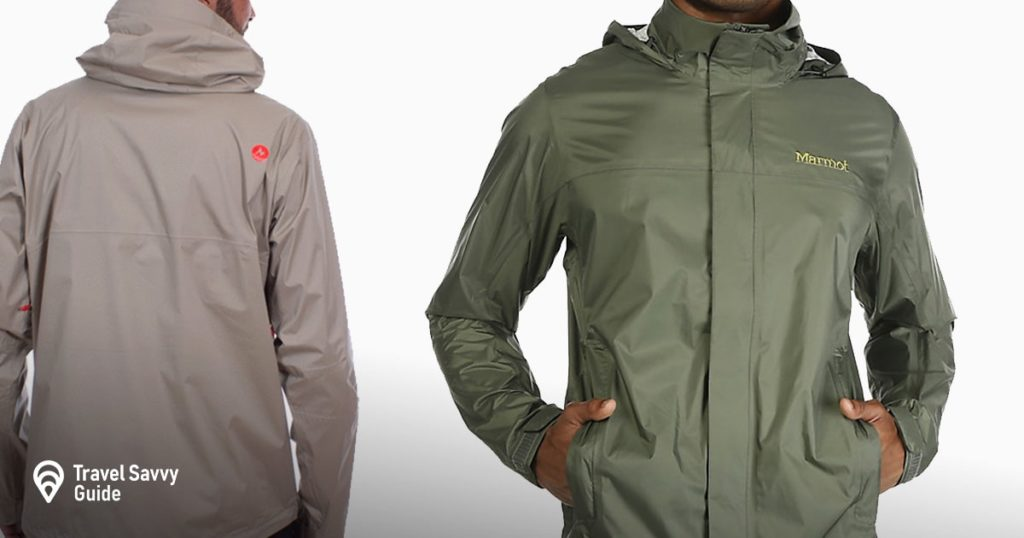 2 men wearing light brown and green Marmot Magus Lightweight Waterproof Rain Jacket