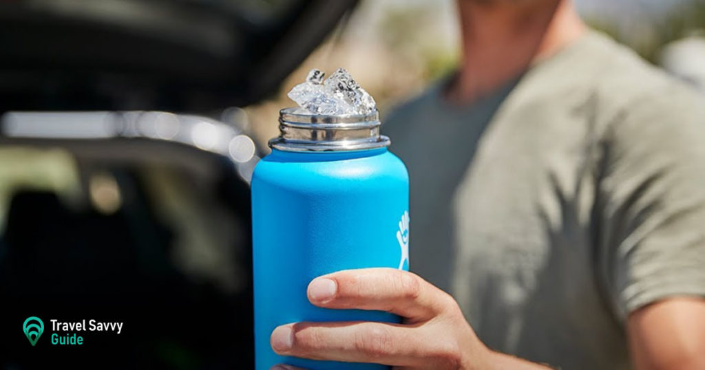 A person holding a Hydro Flask