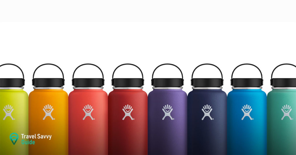 Colorful Hydro Flasks on a white background