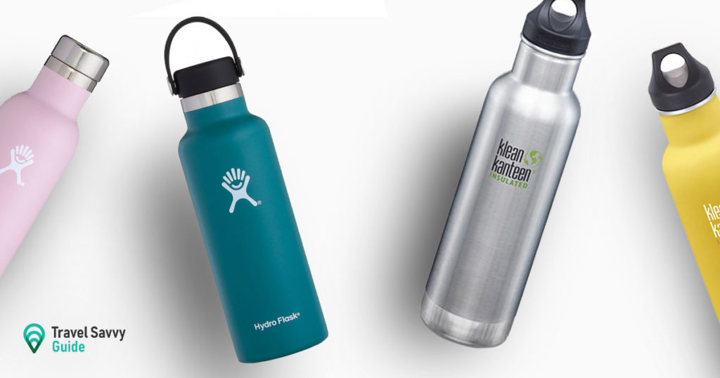 Hydro Flask and Klean Kanteen flasks on a white background