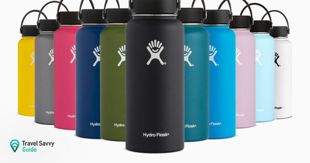 Hydro Flasks various colors on a white background