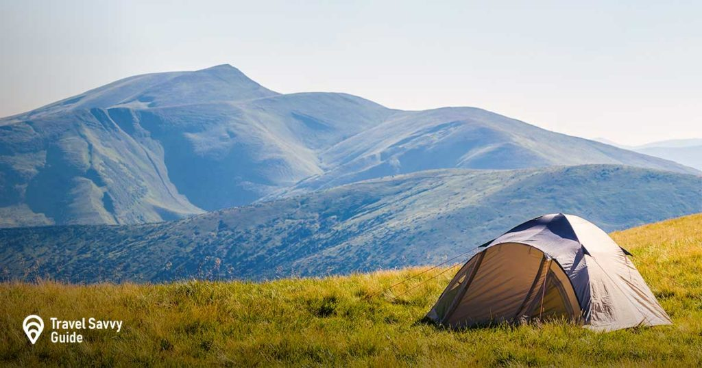 A tent setup in the mountain