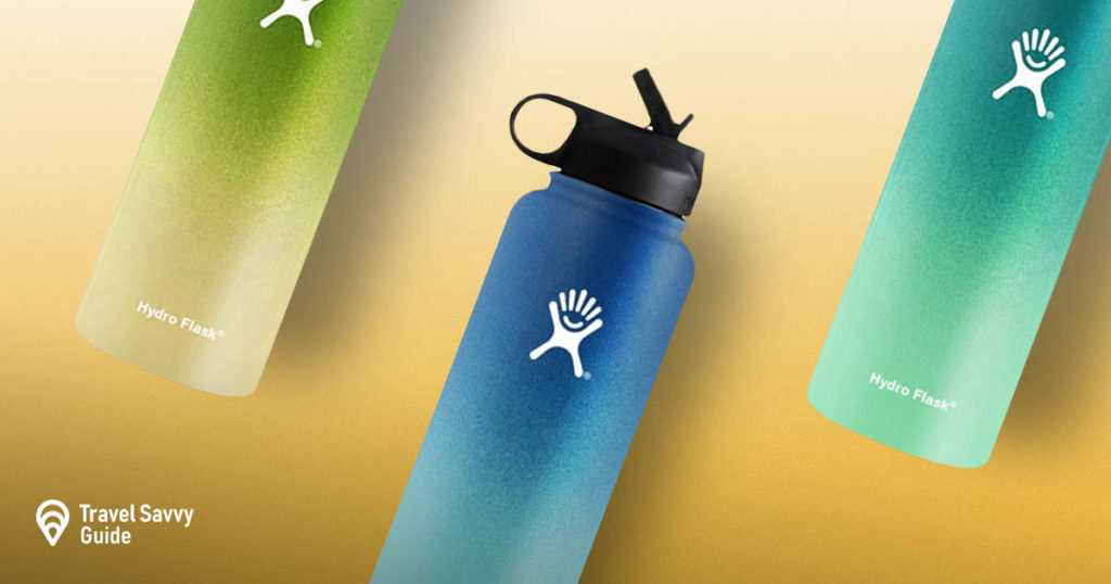 Hydro Flask bottles on a yellow background