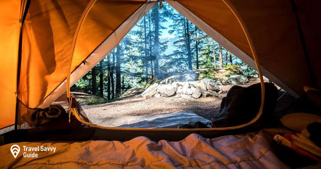 tent inside view of a forest