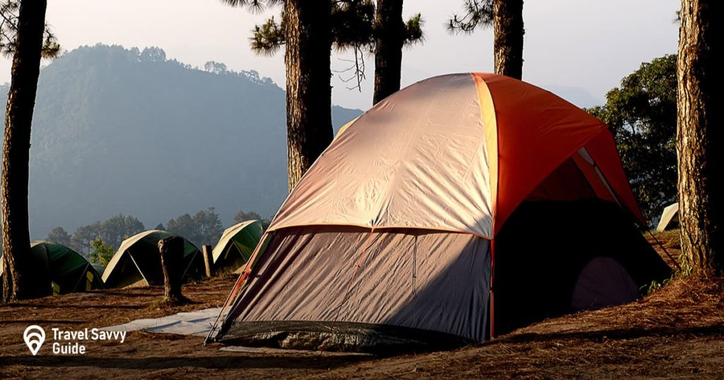 Tent in a forest at sunset