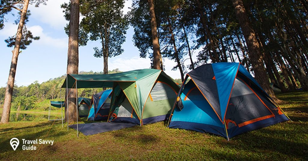 Tents are out in nature surrounded by trees