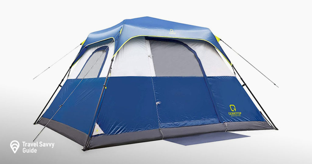 QOMOTOP Camping Tents, 4/6/8/10 Person Instant Set Up Within 1 Minute Tent Equipped with Rainfly and Carry Bag, Water-Proof Pop up Tent with Electric Cord