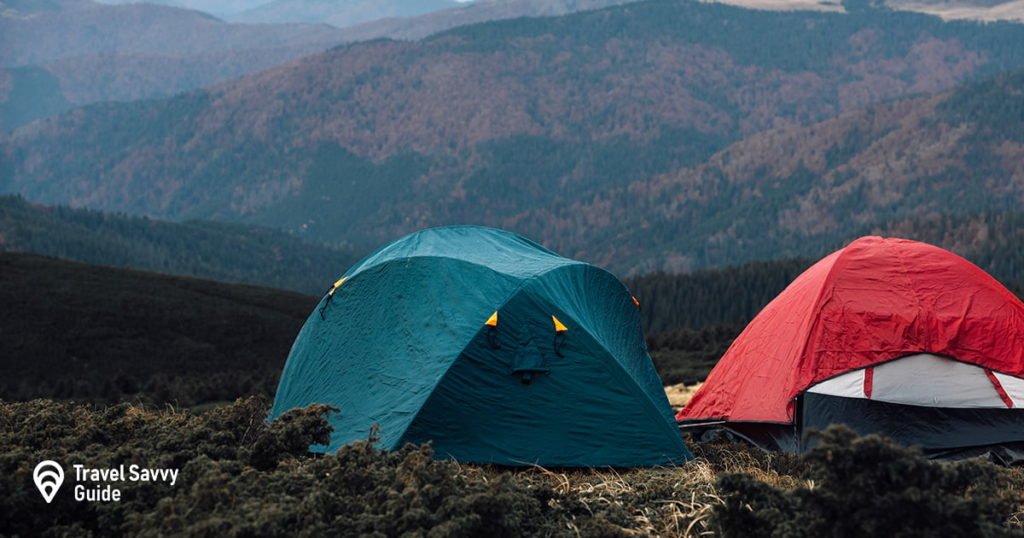 Tents located on top of a mountain