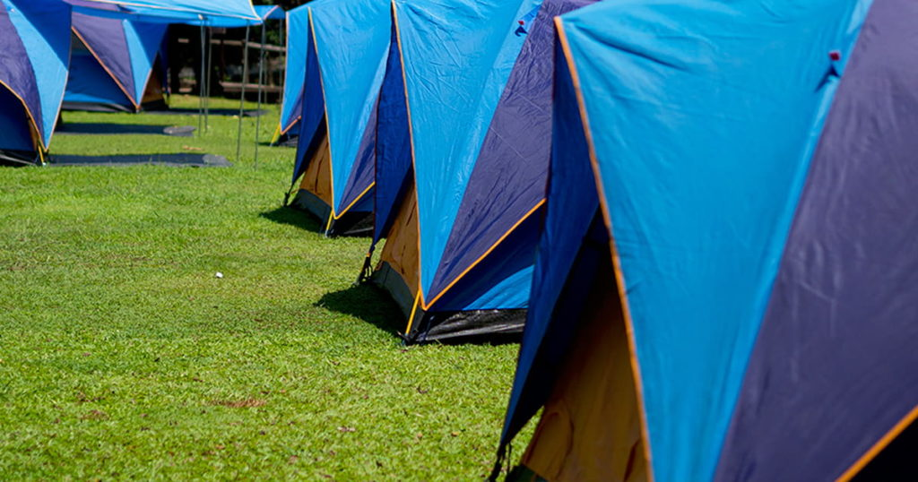 Tent on ground with nice landscape, nature background