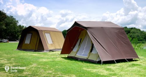 Two vintage cabin tents