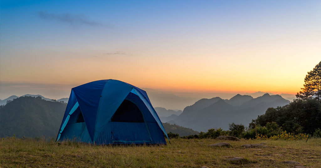camping in sunset