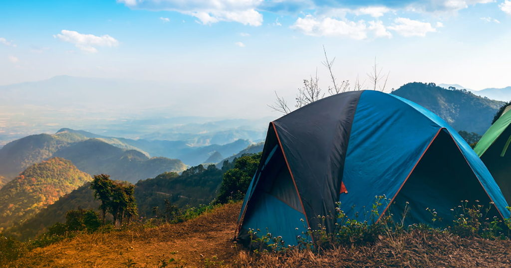 Temporary tent accommodation for tourists who like nature located on high mountain