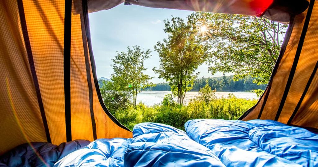 Lake view from inside of a tent
