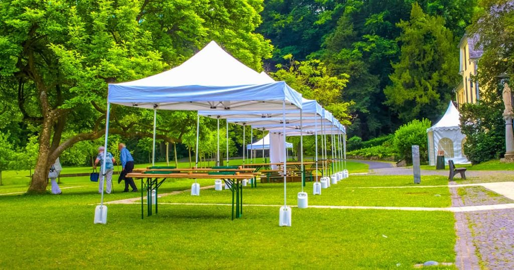 outdoor event tents in the garden