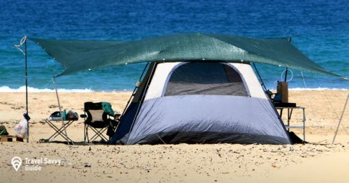 camping tent on the shores of the Sea