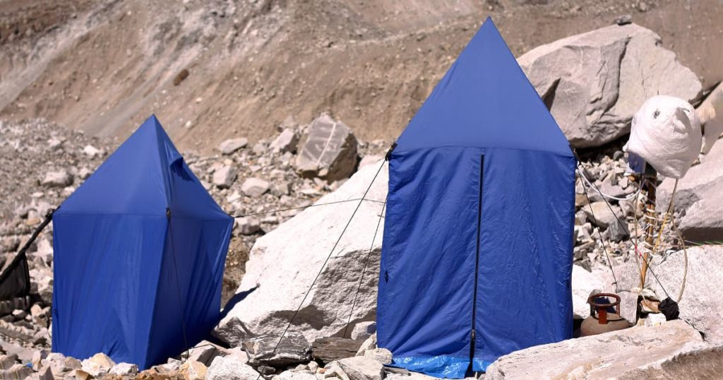 Shower tent provided to climbers in Everest base camp