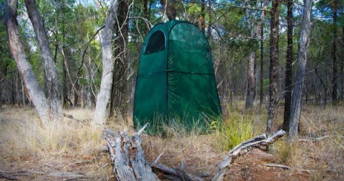 Privacy tent in a forest