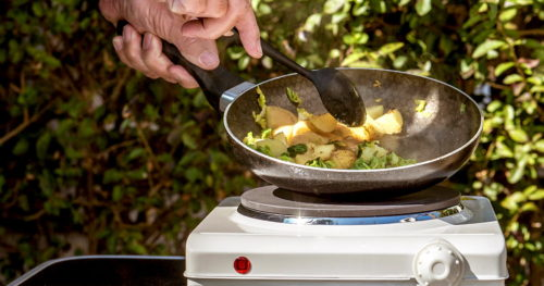 Cocking outdoor on an electric stove