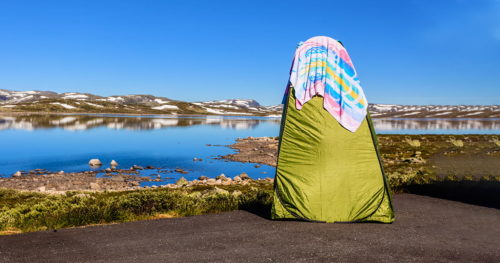 Portable shower bath tent on norwegian nature
