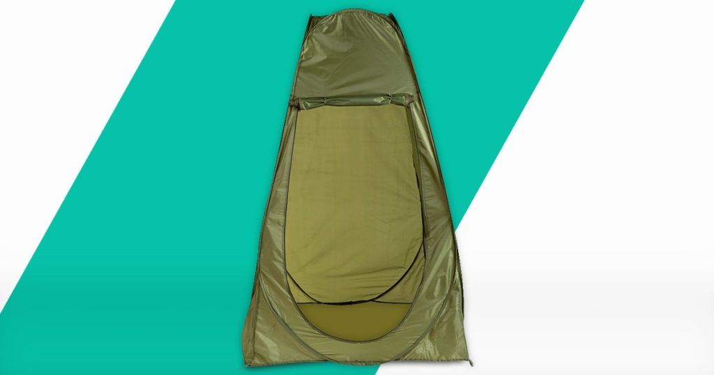 green high tent without bottom, camp toilet or changing room, tent shower
