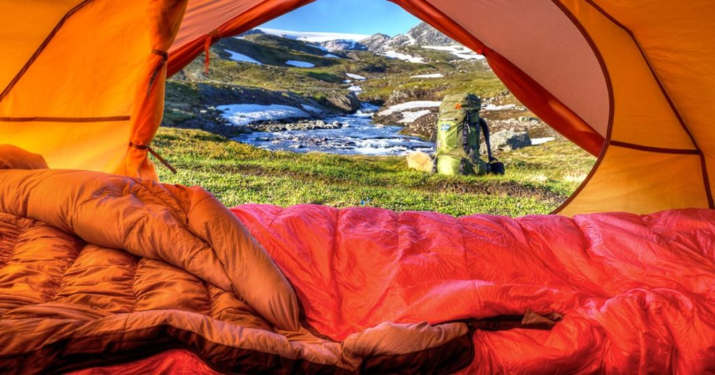 Large sleeping bag on tent lookout