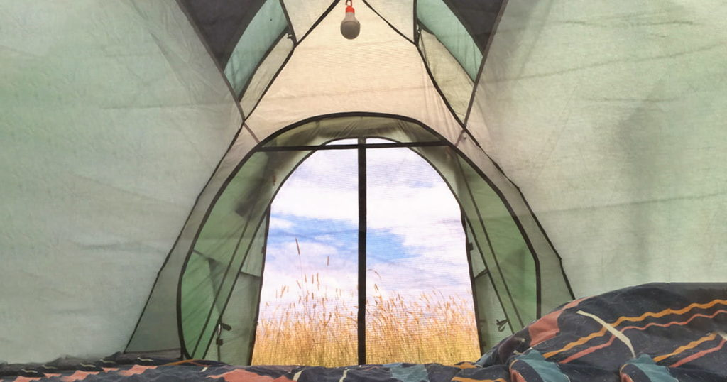inside of a tent looking out to tall grass field and blue sky