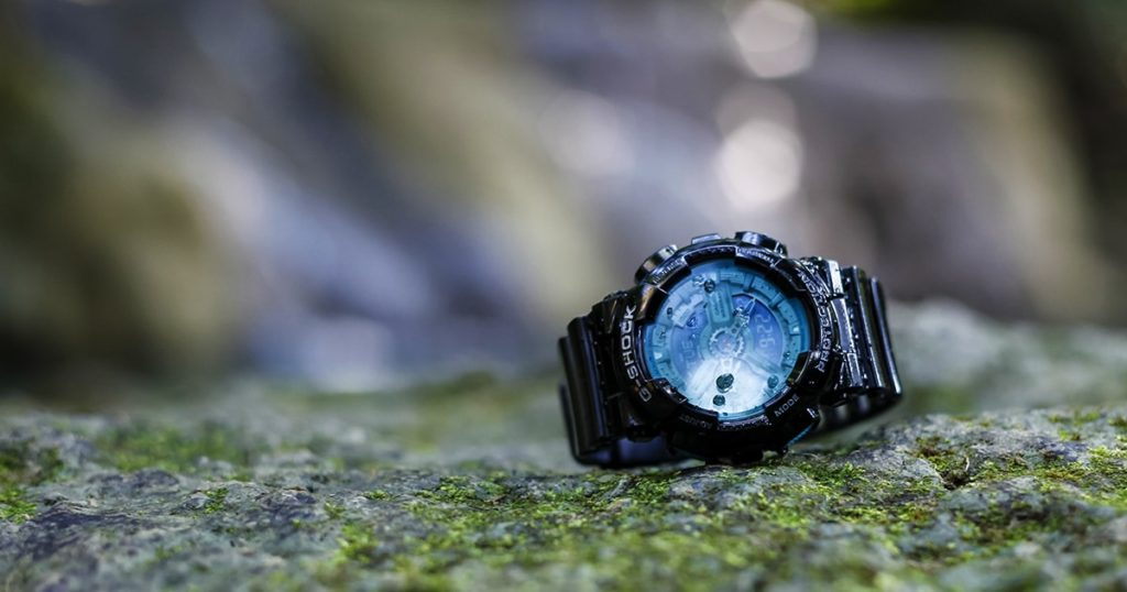 G-Shock watches black color forest background
