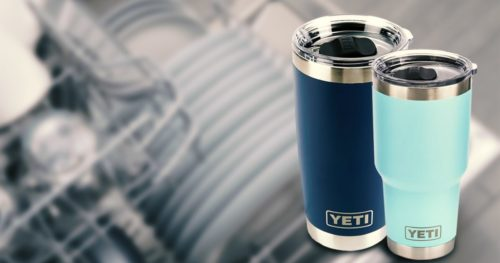 YETI tumbler on a dishwasher background