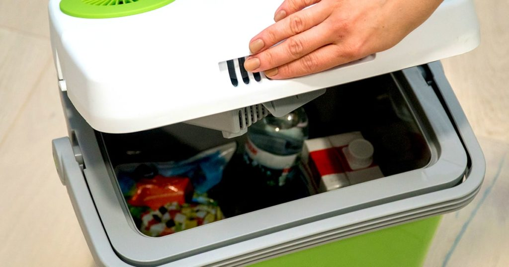 Woman opens cover of green portable refrigerator with drinks food