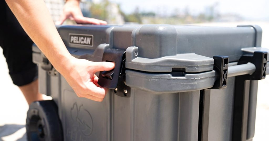 Close view of a Pelican hard cooler lid latch