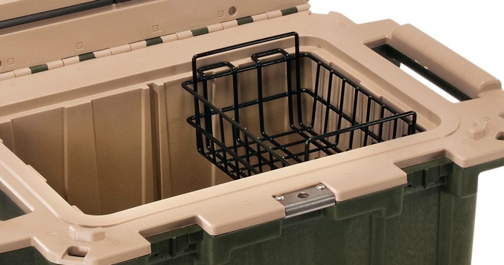 Close view of a wire basket for Pelican hard cooler