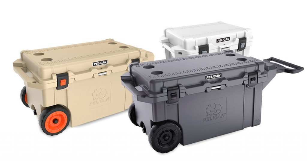 Pelican wheeled hard coolers of different colors