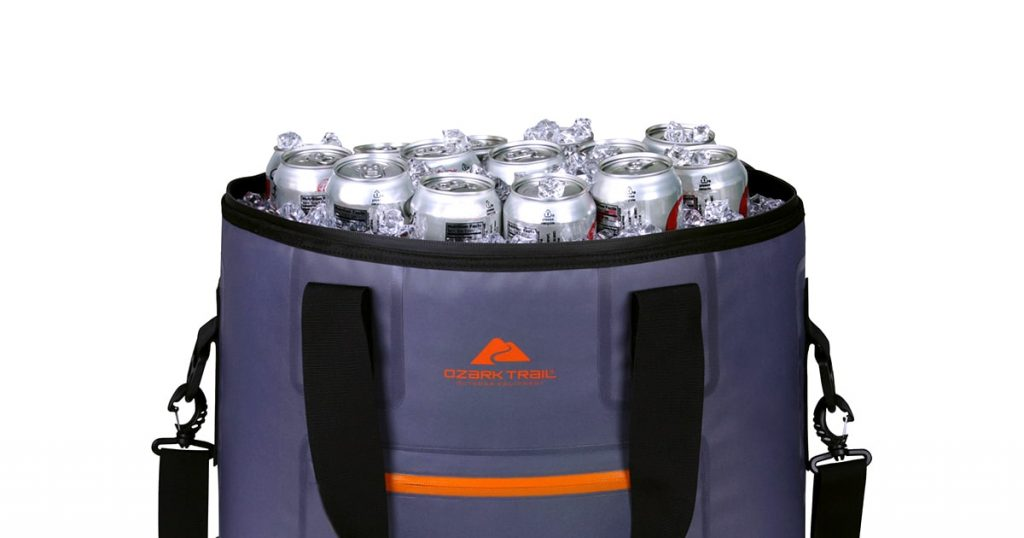 Ozark Trail soft cooler filled with ice and cans