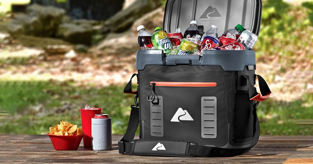 Ozark Trail soft cooler filled with drinks and snacks