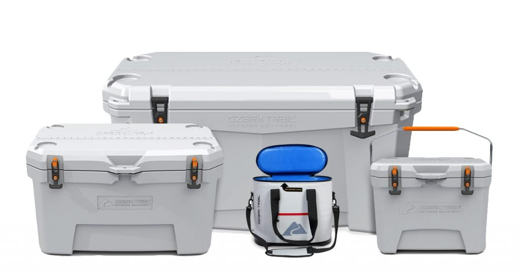 Ozark Trail coolers on white background
