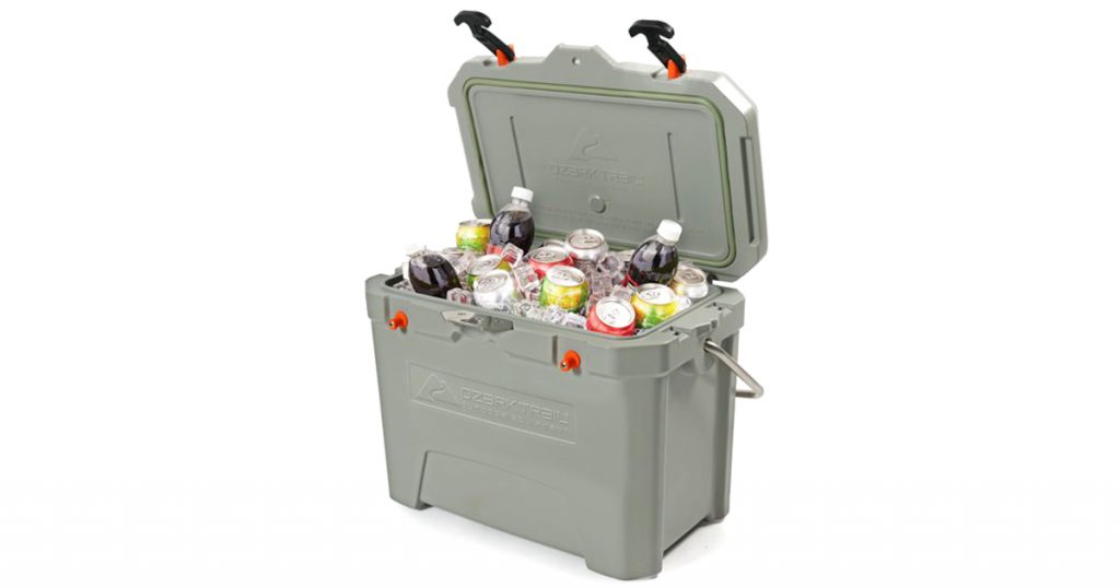 Ozark Trail hard cooler filled with ice and drinks