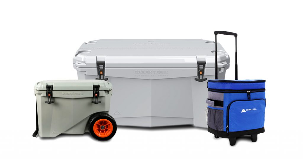 Ozark trail wheeled coolers on a white background