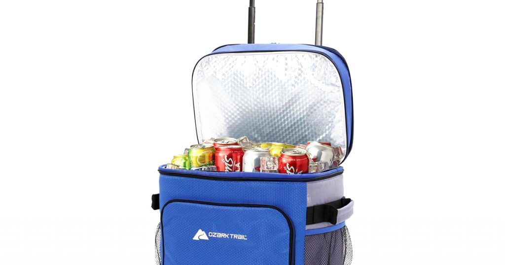 Ozark trail soft sided cooler filled with ice and cans