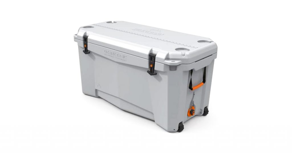Ozark trail hard-sided wheeled cooler side view