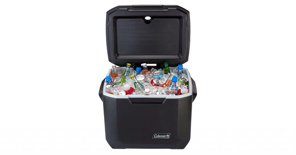 Coleman hard cooler filled with ice and bottles