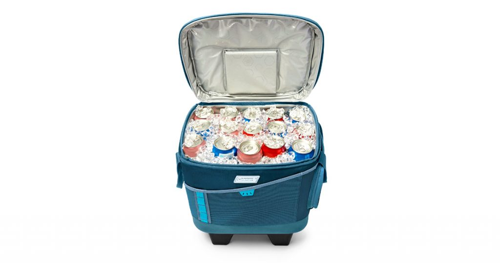 Coleman soft cooler filled with ice and cans