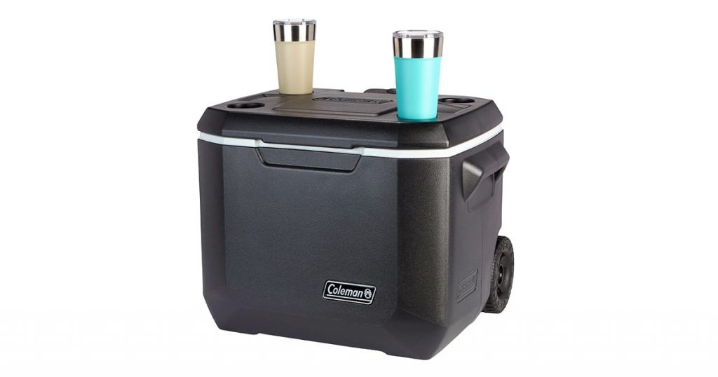 Coleman hard cooler with wheels with cup holders