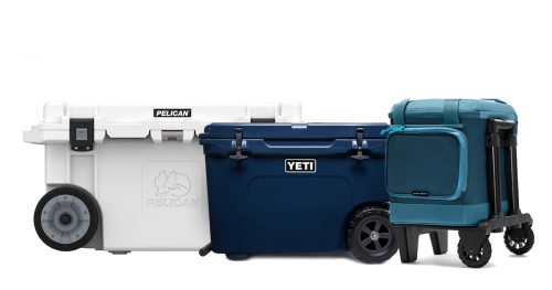 Hard cooler with wheels of different brands