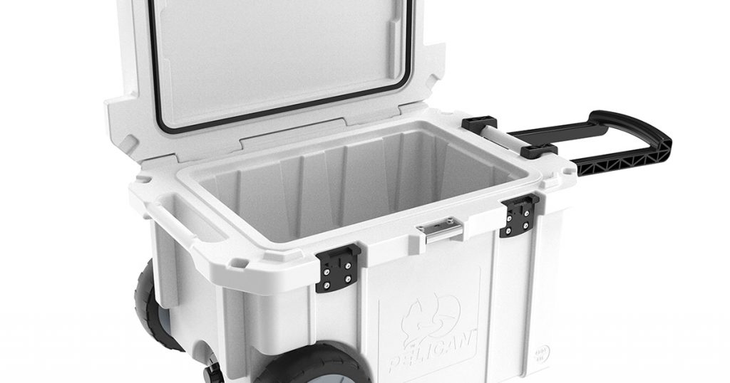 Pelican hard cooler with wheels rotomolded structure