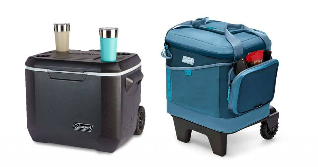 Cooler with wheels cup holder and extra pocket features