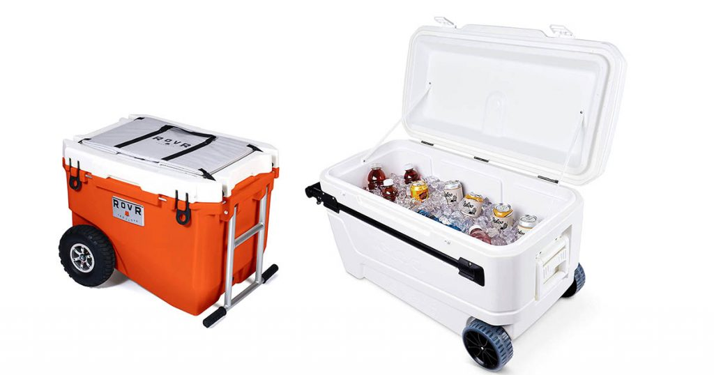 Igloo 110-Quart Glide Pro portable cooler with wheels & RovR Wheeled Camping rooling cooler with wheels